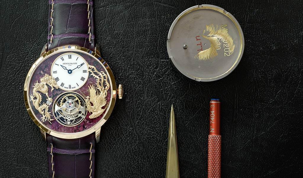 Часы с турбийоном Arnold & Son Ultrathin Tourbillon Dragon & Phoenix