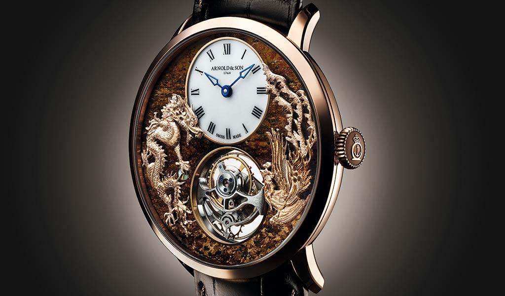 Тонкие часы с турбийоном Arnold & Son Ultrathin Tourbillon Dragon & Phoenix