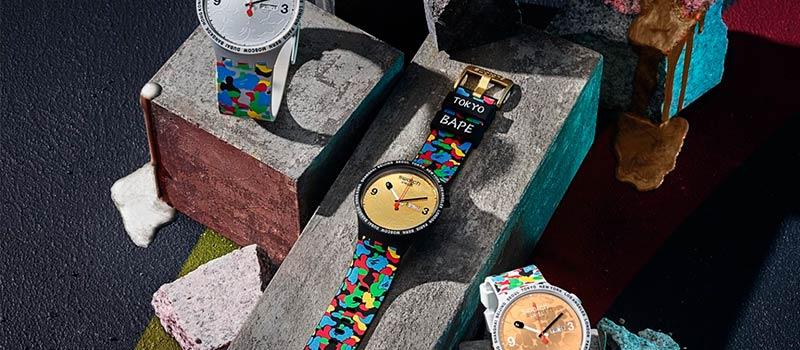 Swatch представляет новую линию наручных часов Swatch x BAPE Big Bold 2020