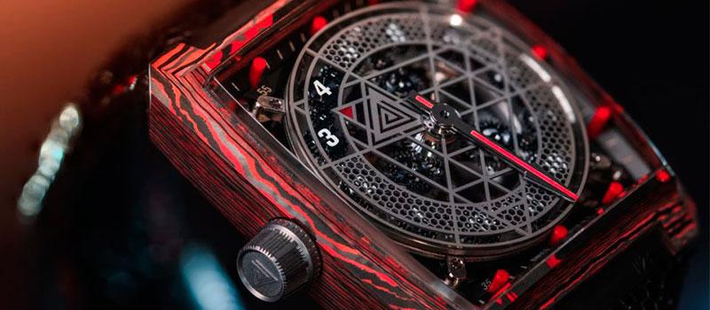 Часы с необычной индикацией времени Vault V2+ RED CC