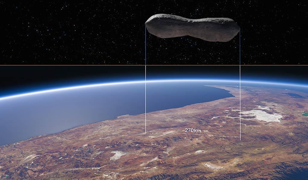 Астероид Клеопатра по сравнению с Чили