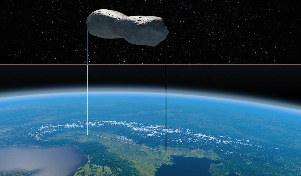 Астероид Клеопатра по сравнению с северной Италией