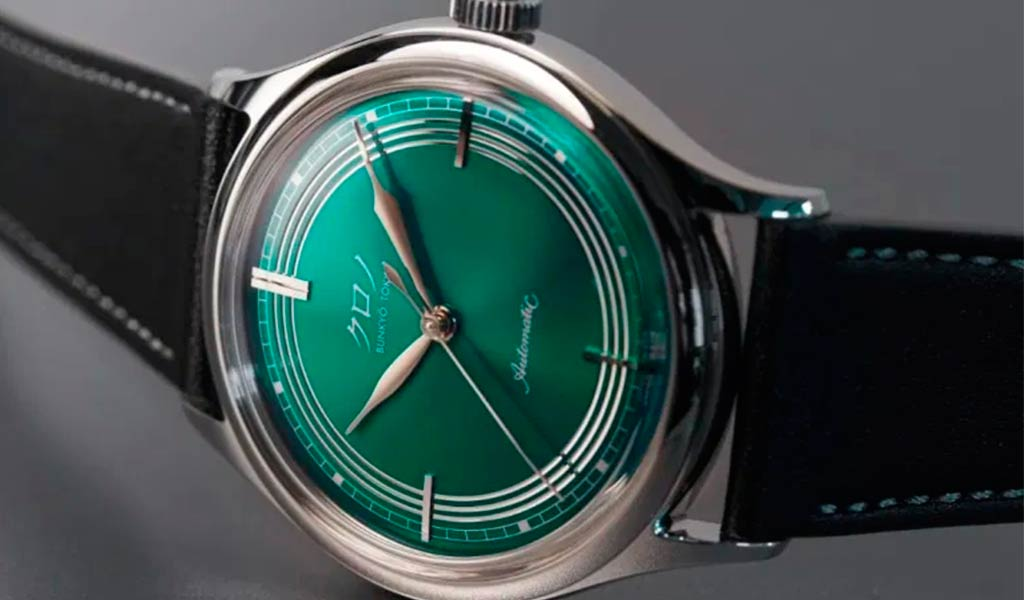 Японские механические наручные часы Kurono Anniversary Green