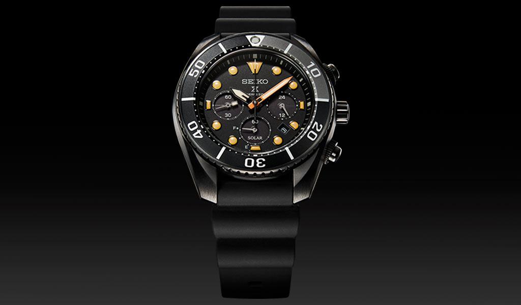 Дайверские часы хронограф Seiko Prospex Black Series Solar