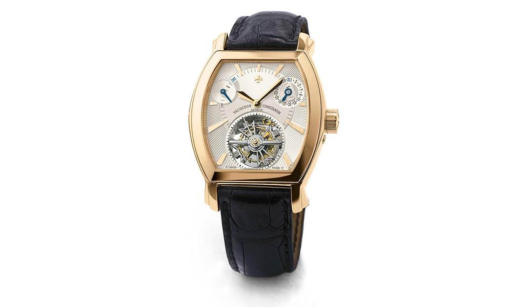 Наручные часы бочковидной формы из коллекции Malte из розового золота с турбийоном