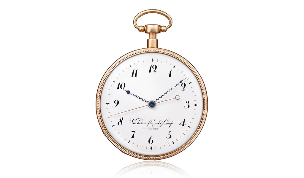 Карманные часы из красного золота с четвертным репетиром и «прыгающей» индикацией секунд