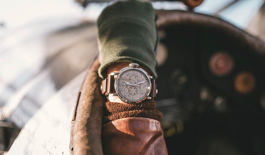 Наручные механические часы Pilot Type 20 Chronograph Silver